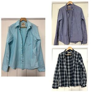 x3-Hollister-Mens-Shirts-Size-Large-L-Blue-Stripes-Checked-Long-Sleeve-C451