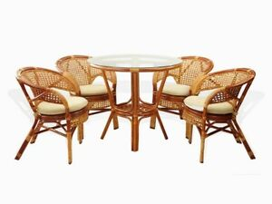 Details About Set Of 5 Pelangi Natural Rattan Wicker Dining 4 Armchairs And Round Table Cognac