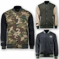 Men Biker Twill Camo Army Patch Bald Eagle Indian Letterman Varsity Jacket