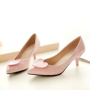 Lolita Damens Heart Kitten Heels Pump Cute Pointy Toe Slip Slip Slip On Patent bd9e79