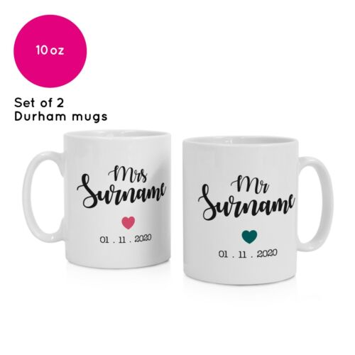 2 Personalised Name Mr and Mrs Mugs Printed Wedding Gifts Presents Anniversary