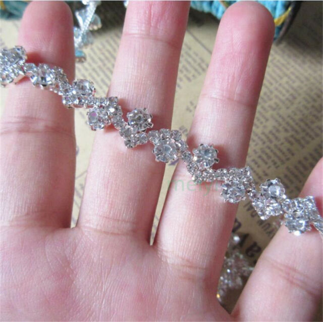 30cm Sparkle Crystal Rhinestone Chain Ribbon Trim Bridal Dress Costume Applique