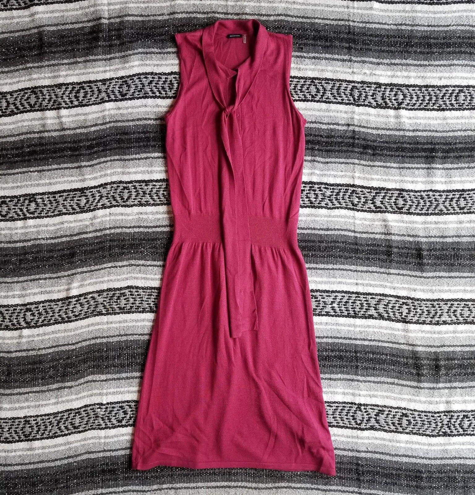 MAGASCHONI Sz S Designer Poppy Red Fine Gauge Silk & Cashmere Knit Sweater Dress