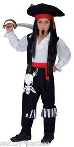 Nino-Capitan-Blackheart-Pirata-Chicos-Fancy-Dress-Libro-Semana-Jack-Sparrow-edad-3-13