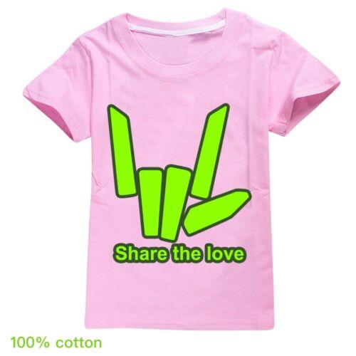 Share The Love T-shirts Youtuber Kids Boys Girls 100/% Cotton Summer T-shirt Tops