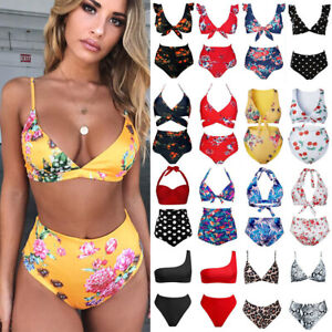 Women-Floral-Print-Bikini-Set-2-Pieces-Bathing-Suit-High-Waist-Swimsuit-Swimwear