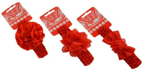 Red Baby Headbands Girls Lace Bow Matching Flower Hair Band Christmas Soft Touch