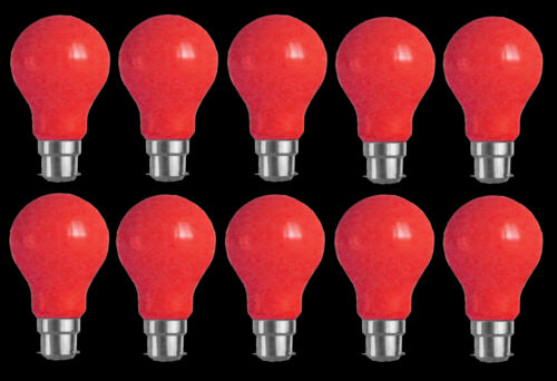 10 x RED Coloured Bayonet Party Festoon Light Globes 25W B22 Bulbs Lamps A60