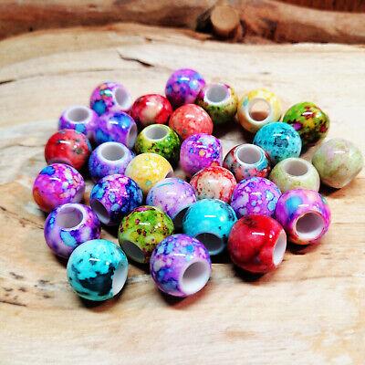 sehr große Perlen 19,5 mm Farben bunt Großloch 5 mm glänzend NEU