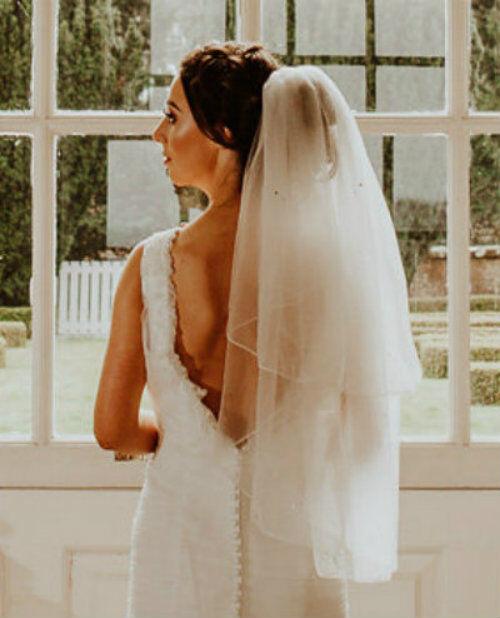 2 Tier Crystal Waist Wedding Veil Pencil Edge Bridal Ivory White Luxury Soft
