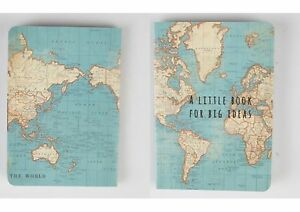 VINTAGE WORLD MAP ATLAS MINI NOTEBOOK A LITTLE BOOK FOR BIG IDEAS - Little big world map