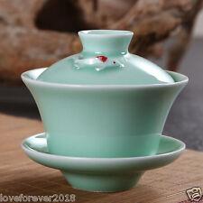 100ml celadon gaiwan porcelain bowl lid saucer China teaware tea set fish green