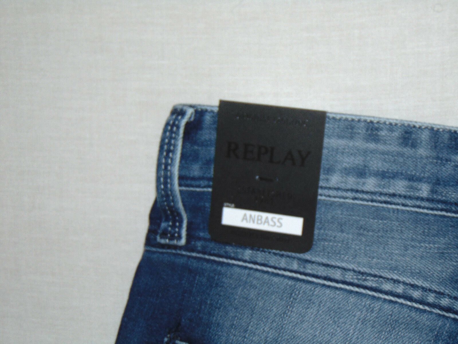 REPLAY ANBASS Stretch Slim Slim Slim Fit RRP  da uomo 12oz Blu Scuro Jeans Denim Comfort ecd9ce