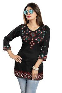 Women-Indian-Short-Printed-Ethnic-Kurti-Tunic-Kurta-Shirt-Dress-MI521-BLACK