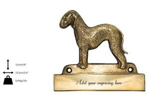 Bedlington Terrier - Plaque De Laiton Avec Un Chien 'welcome' Art Dog Fr Type 2