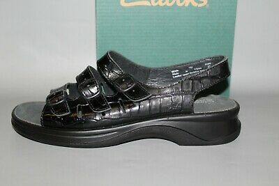 Honest New Women's Clarks Sunbeat Size 7 Medium Intimates & Sleep Black Comfortable Leather Sandals Clothing, Shoes & Accessories