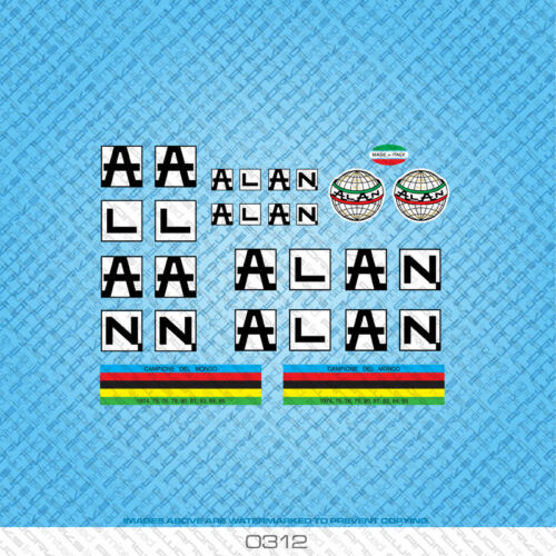 Alan Bicycle Decals Transfers Stickers Black On White Background Set 312