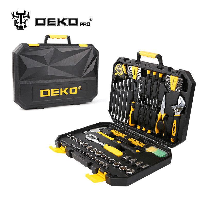 DEKOPRO 128 Pcs Hand Tool Set General Household Hand Tool Kit with Plastic Toolb