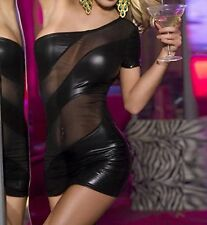 Latex Look Sexy Black and See Through Mesh Panels Mesh Back to Waist