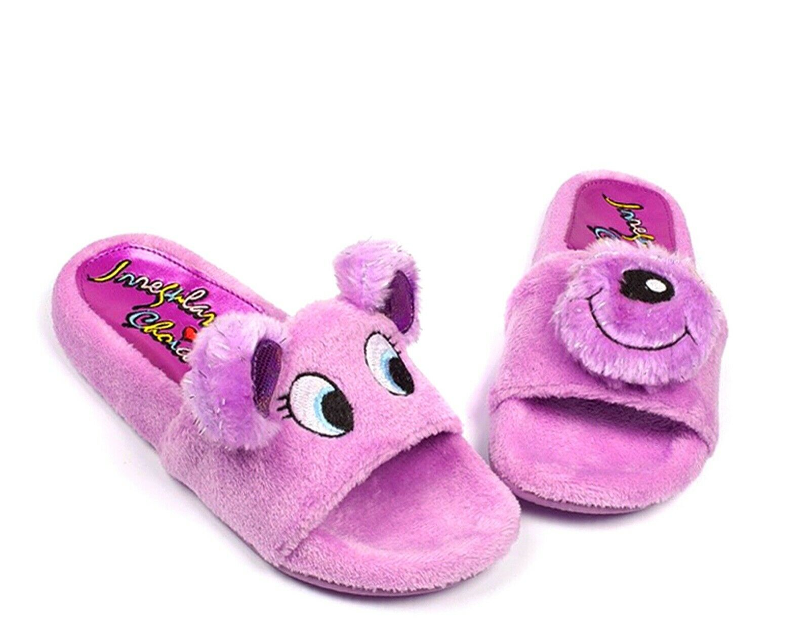 Irregular Choice NEW Baby Bear purplec faux fur teddy slides slider sandals 4-9