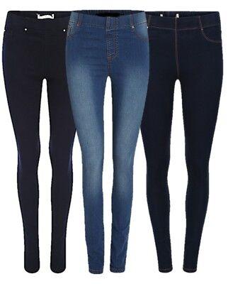 Ladies Navy Blue//Denim Blu EX EVAN Gamba Skinny Jeggings Plus Size 8-32