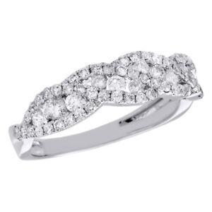 14k White Gold Diamond Wedding Band 5 75mm Criss Cross Channel Set