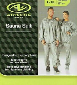 """Athletic Adult Sauna Suit L/XL Fits Waist Sizes 36"""" - 44"""" $17.87 FREE SHIPPING"""