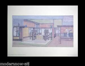 Frank Lloyd WRIGHT Lithograph #'ed LIMITED Ed. ~Townhouse C.T.Shaw +Custom FRAME