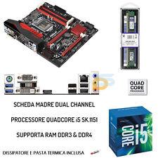 UPGRADE SCHEDA MADRE FULL + CPU INTEL QUAD-CORE I5 + RAM 8GB DDR3/DDR4 BUNDLE