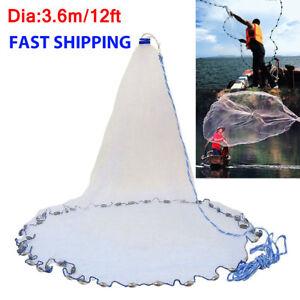 12FT-3-8-039-039-Mesh-Quick-Throw-Mono-Saltwater-Bait-Drawstring-Fishing-Cast-Net
