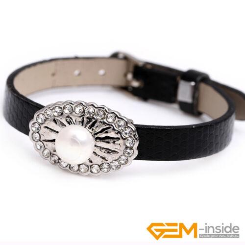 8-9 Mm De Culture Perles Ovale Plaqué Or base en Cuir Noir Bracelet Bijoux