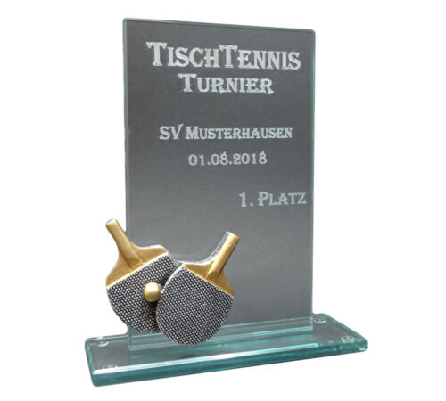 Tischtennis-Glaspokal Resin-Figur mit Ihrer Wunschgravur Pokale & Preise