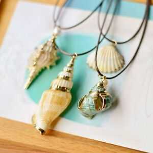 Womens-Hollow-Natural-Screw-Shell-Pearl-Pendant-Necklace-Long-Chain-Jewellery