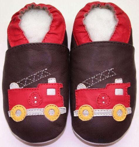 Weiche Sohle Leder Babyschuhe Hausschuhe Innen Fire Track Brown 3-4y US 10