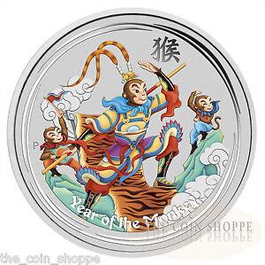 MONKEY-KING-2016-1-oz-Pure-Silver-Color-BU-Coin-Perth-Mint-CAPSULE