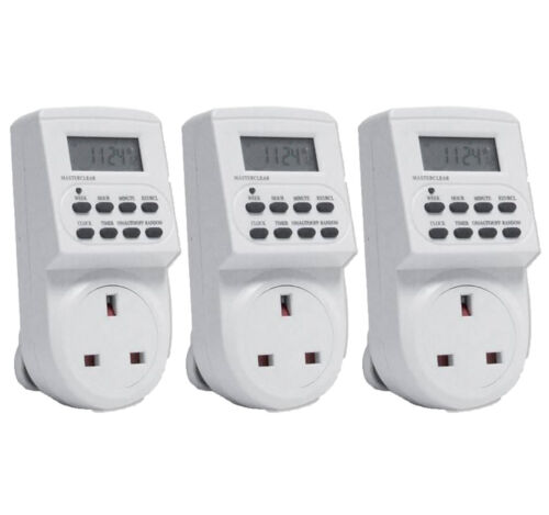 3 x 7 DAY DIGITAL LCD ELECTRONIC PLUG-IN PROGRAM 12//24 HOUR TIMER SWITCH SOCKET