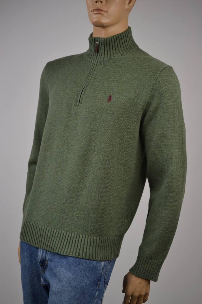 Ralph Lauren Sage Grün Half-Zip Sweater/Burgundy Braun Pony NWT