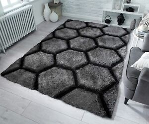 SMALL-LARGE-THICK-SOFT-PILE-DARK-CHARCOAL-GREY-3D-VERGE-HONEYCOMB-HEXAGON-RUG