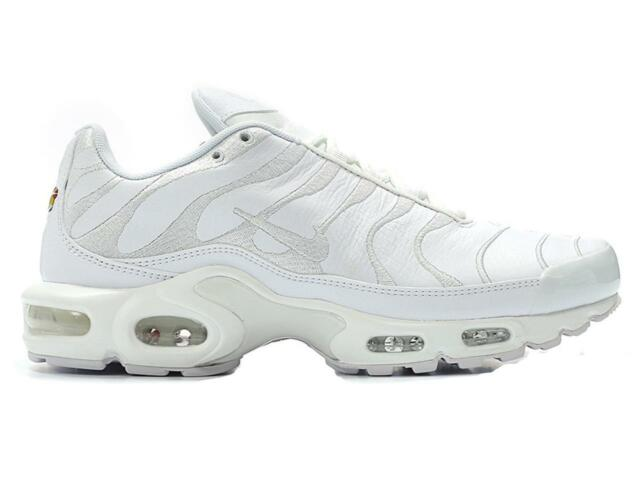 size 40 82dc4 11f18 Nike Air Max Plus Tn Tuned 1 Triple White Leather Mens Trainers AJ2029 100