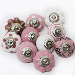Moebelknoepfe-Set-6-8-10-STK-Moebelgriffe-Rosa-Weiss-Keramik-Knoepfe-Moebelknopf-RS
