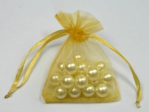 50 SMALL 7CM X 9CM LUXURY GOLD ORGANZA GIFT BAGS WEDDING FAVOUR SWEET BAGS UK