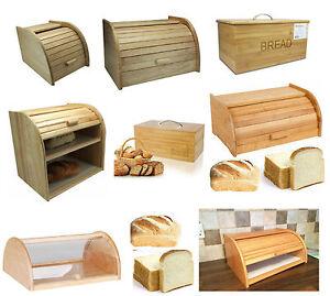 Details About Bread Bin Beech Wood Bamboo Wooden Roll Top Bins Kitchen Food Storage