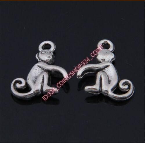 P1427 20pc Retro Tibetan Silver monkey Charms Beads Pendant Jewellery Making