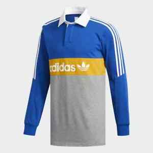 ADIDAS-SKATEBOARDING-HERITAGE-POLO-SHIRT-L-S-TOP-ROYAL-GREY-YELLOW-WHITE
