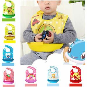 Waterproof Silicone Baby Bibs Easily Wipes Keep Clean Comfortable Soft Cute Bibs