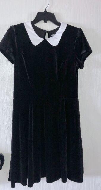 cb440543cf Hot Topic Black Velvet Wednesday Addams Skater Dress White Collar Size Large