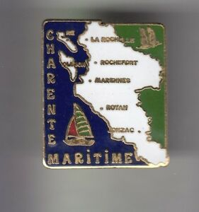 RARE-PINS-PIN-039-S-TOURISME-CARTE-MAP-VILLES-ILES-CHARENTE-MARITIME-17-BZ