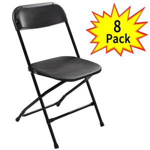 8PCS Plastic Folding Chairs Wedding Party Event Chair Commercial Black New