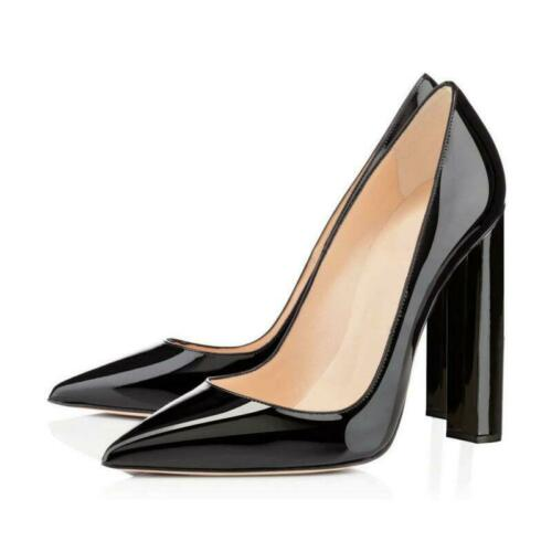 Details about  /Occident Womens Pointed Toe Block Chunky Classic High Heels Slip On Shoes Pumps