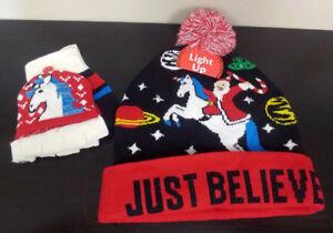 97cd7ecb90960 Light Up Just Believe Santa Unicorn Space Winter Hat   Gloves One ...